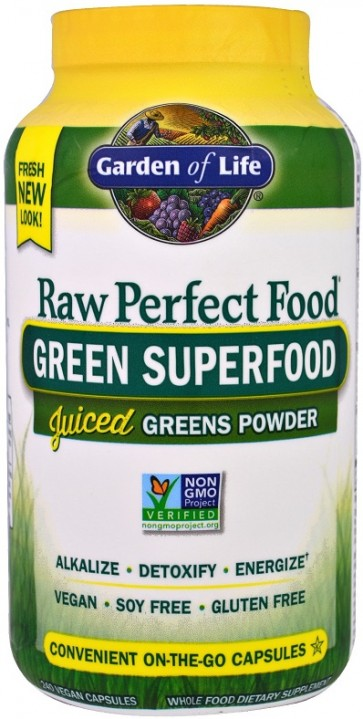Raw Perfect Food, Green Superfood, Juiced Greens Powder - 240 vcaps