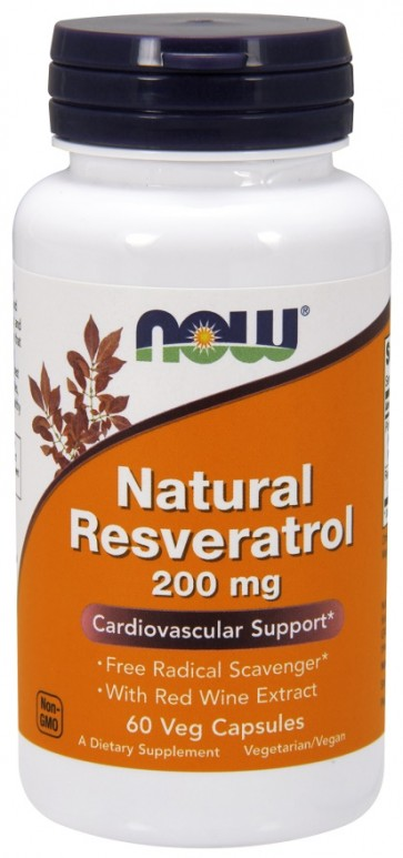 Natural Resveratrol, 200mg with Red Wine Extract - 60 vcaps