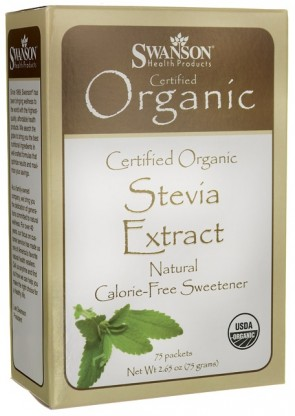 Stevia Extract - Certified Organic Calorie-Free Sweetener - 75 packets